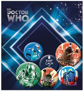 Doctor Who Retro 6 Pin Badges in Pack incl. Keep Calm, I'm The Doctor (ge)